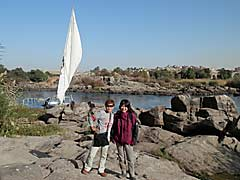 Felucca sailing across the First Cataract