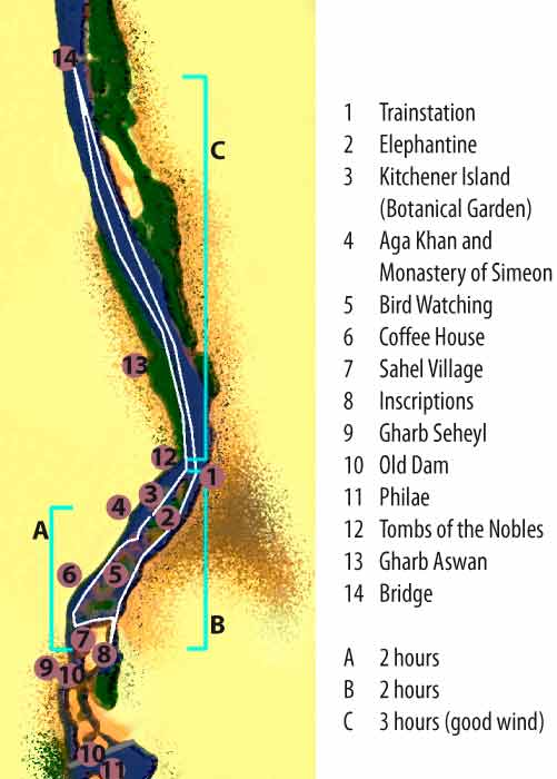 Map for sailing in Aswan